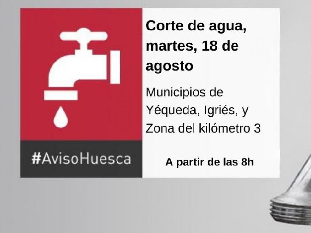 Un corte de agua afectará este martes a los municipios de Yéqueda, Igriés, y a la Zona del kilómetro 3