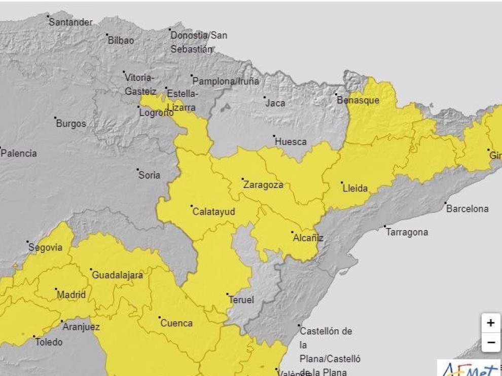 La Aemet amplía el aviso amarillo por temperaturas máximas en el sur de Huesca