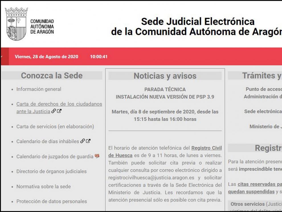 Sobresaliente para la Sede Judicial Electrónica de la Comunidad aragonesa