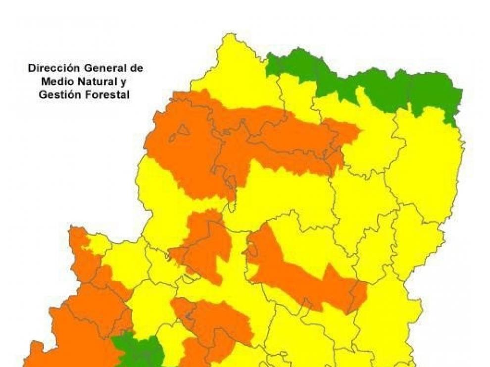 Alerta naranja de peligro de incendios forestales en diversas zonas de Aragón