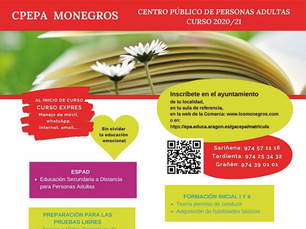 Abierto el plazo de inscripción para los cursos de educación de adultos de Los Monegros