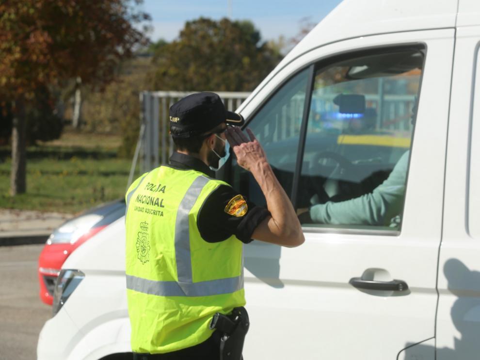Controles de la Policía en Huesca por el obligado confinamiento perimetral