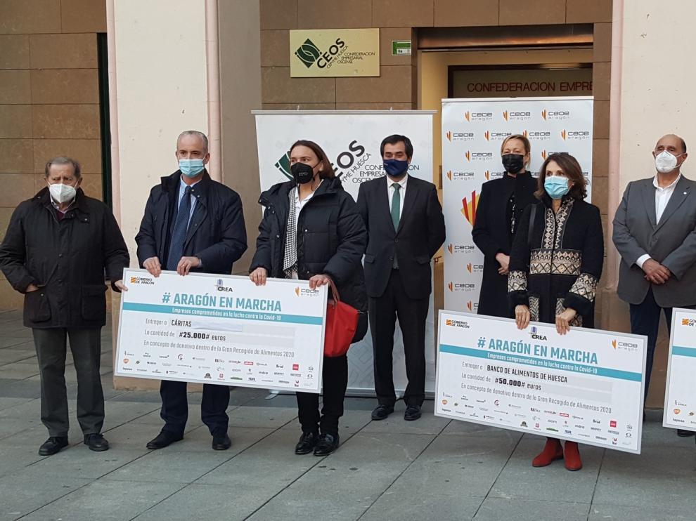 """Gastón destaca la """"solidaridad y compromiso"""" de las empresas aragonesas en las donaciones a entidades sociales de Huesca"""