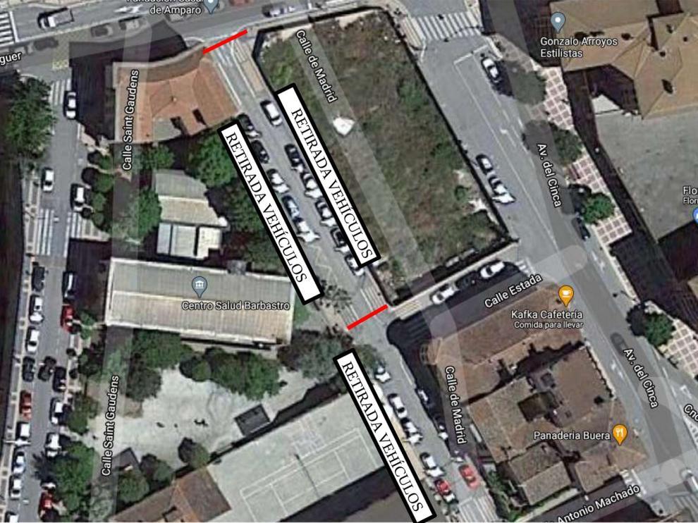 Corte al tráfico del tramo de la calle Madrid entre la Avenida San Josemaría Escrivá y la calle Estada de Barbastro