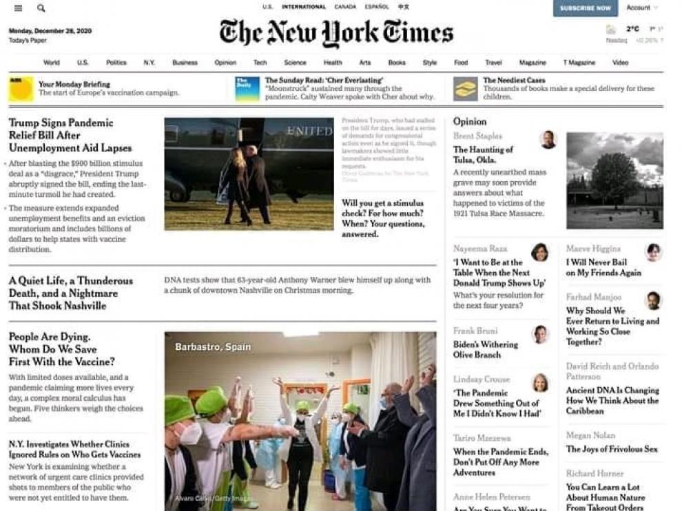 El New York Times se hace eco de las primeras vacunas para la covid-19 puestas en Barbastro