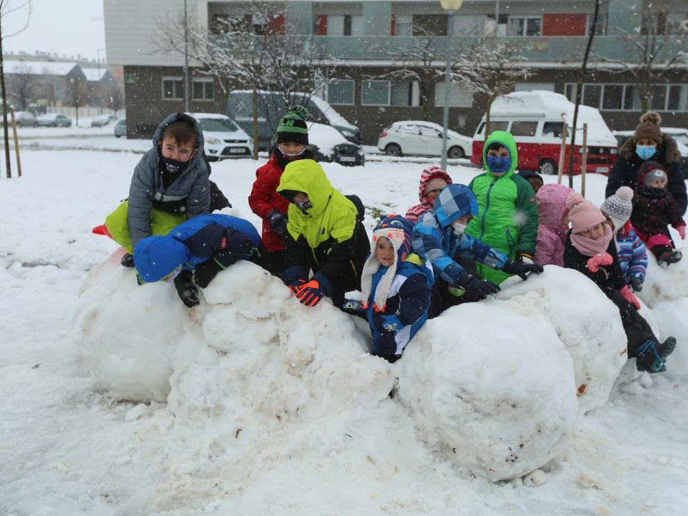 Segunda jornada con nieve por la presencia de Filomena en la provincia de  Huesca