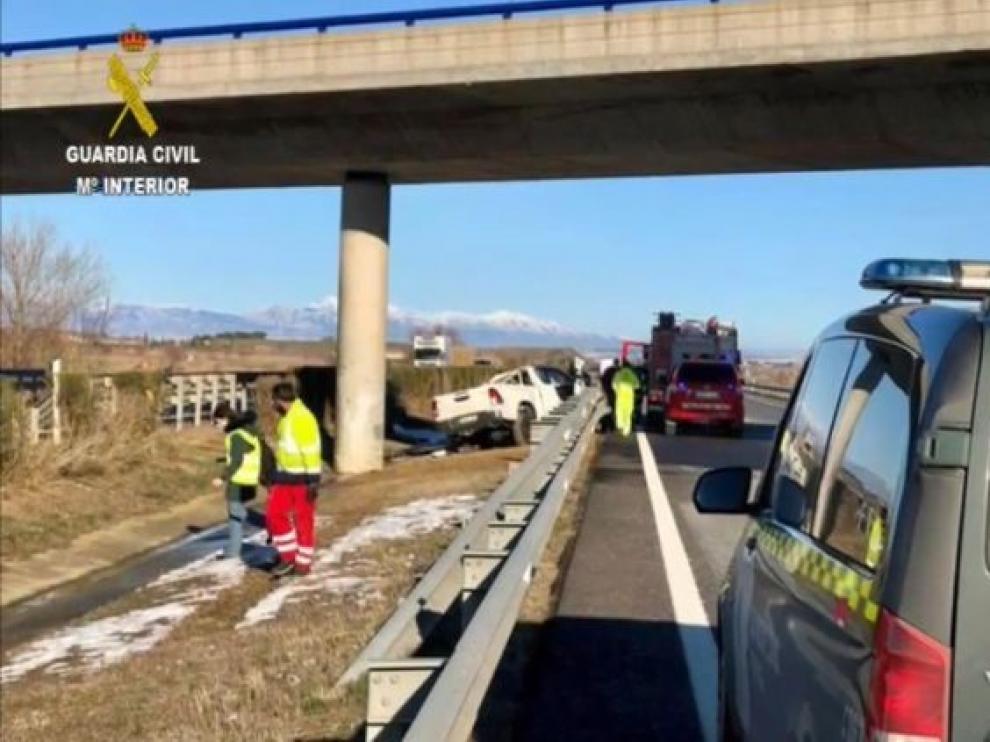 Un fallecido en accidente de tráfico en la A-23 en Almudévar