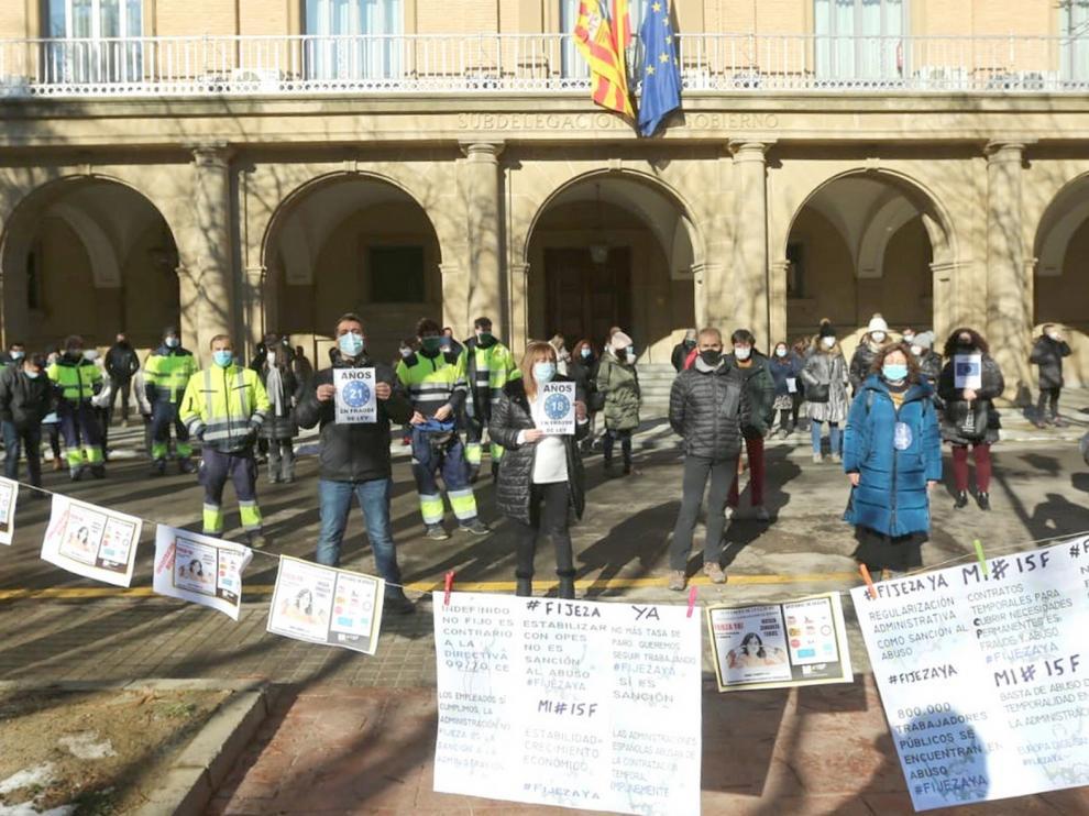 Protesta de los funcionarios públicos en Huesca