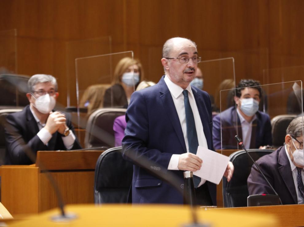 Lambán comparece en el pleno de este miércoles para informar de la evolución de la pandemia