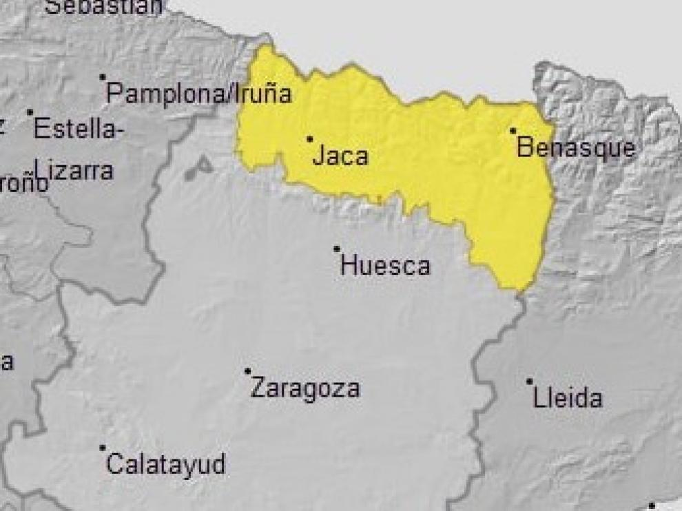 Aviso amarillo por nevadas en el Pirineo este martes