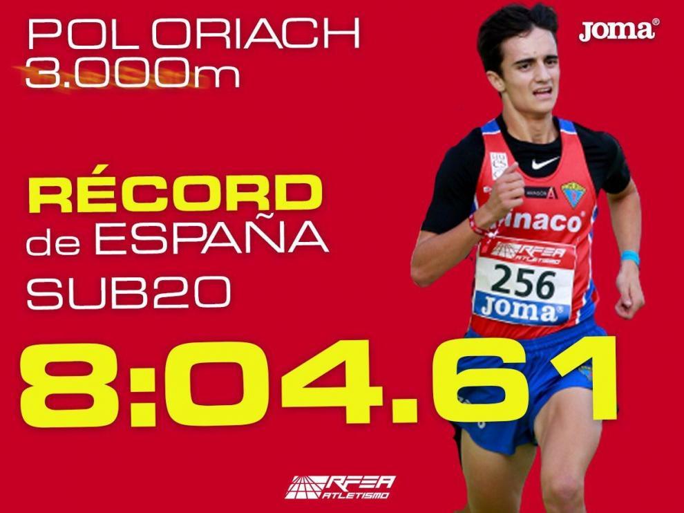 Pol Oriach, nuevo recordman de España sub-20 en 3.000