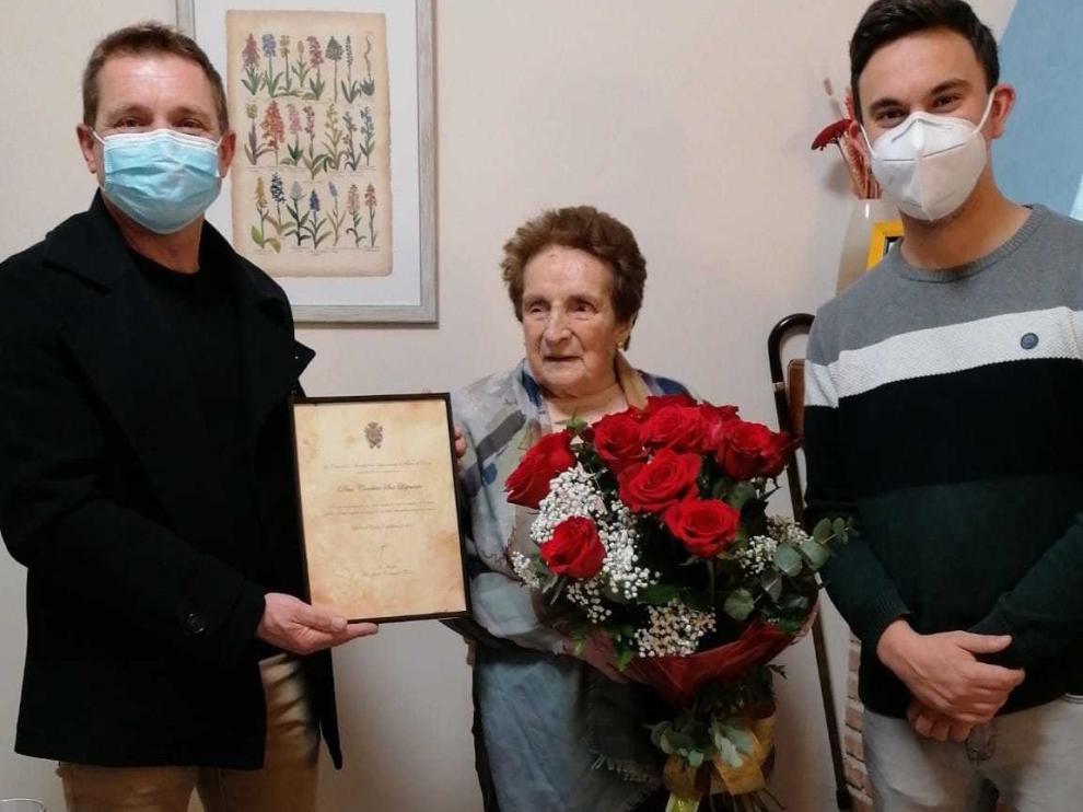 Conchita Sesé, vecina de Belver, celebra su 100 cumpleaños