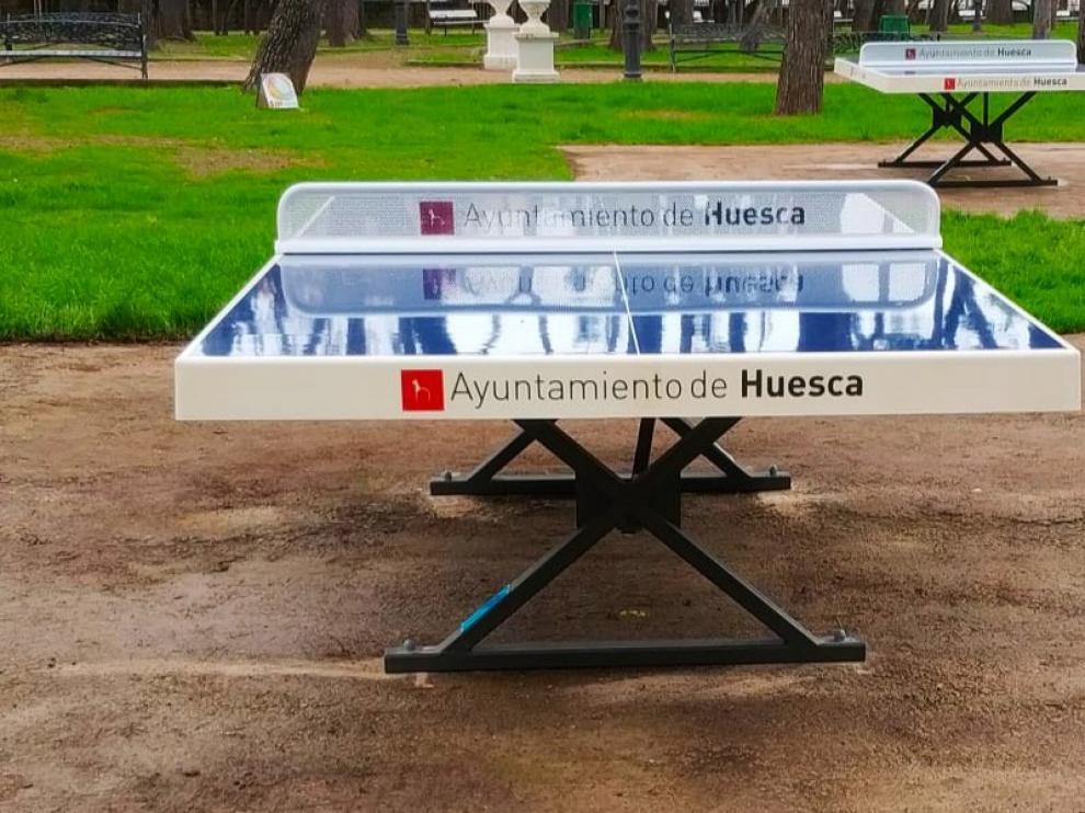 Instaladas varias mesas de ping-pong en diferentes zonas de Huesca