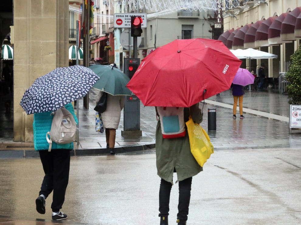 Las precipitaciones, protagonistas en la mañana de este viernes en Huesca
