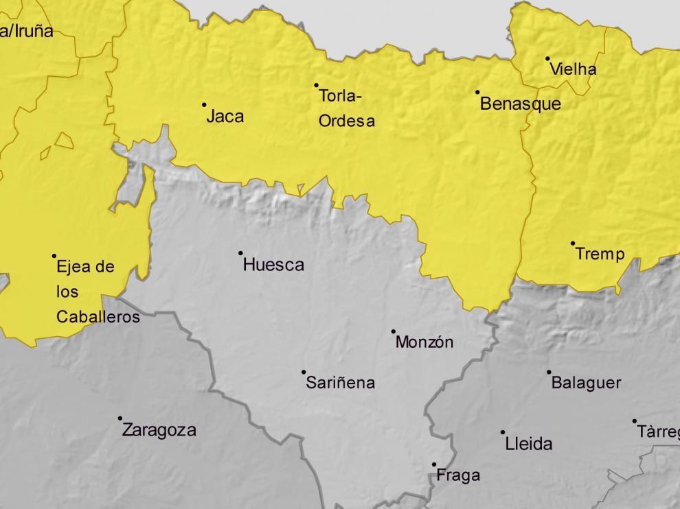 Sigue activada la alerta amarilla por viento en el Pirineo este sábado