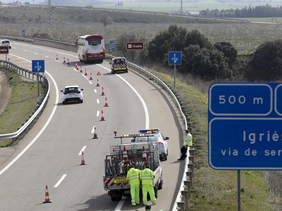 El accidente ha tenido lugar en la A-23 en las cercanías de Igriés.