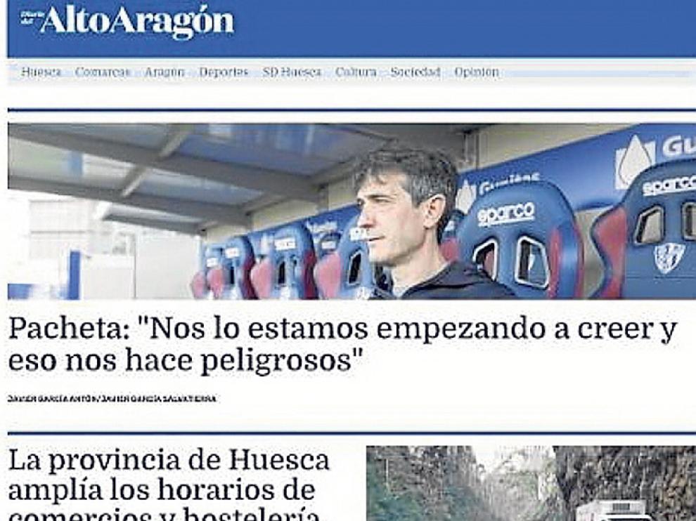 Portada de nuestra nueva edición web, www.diariodelaltoaragon.es