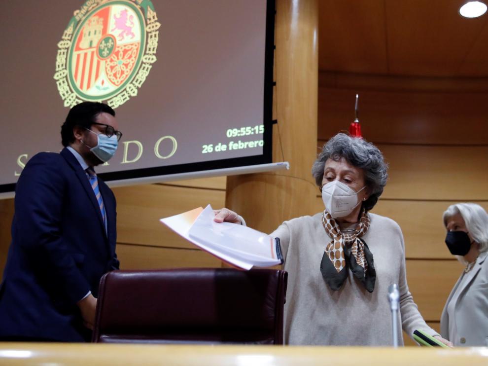 Rosa María Mateo compareció ante la comisión de control del Senado.