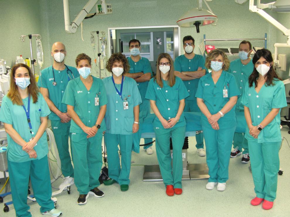 Equipo de facultativos que forman la Unidad de Anestesia Cardiotorácica del Hospital U. Miguel Servet de Zaragoza.