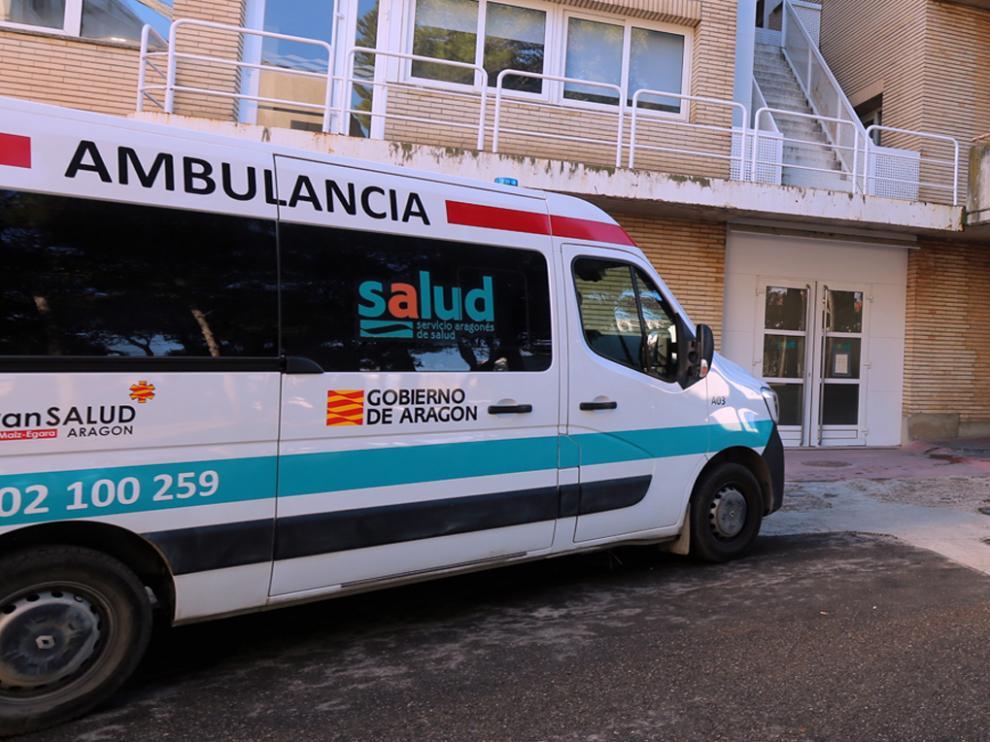 Ambulancia en el Hospital Universitario San Jorge de Huesca.