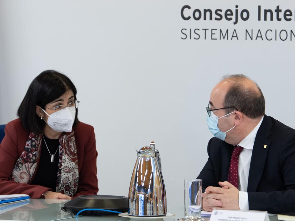 Carolina Darias, ministra de Sanidad, y Miquel Iceta, de Política Territorial, tras el Consejo de ayer.