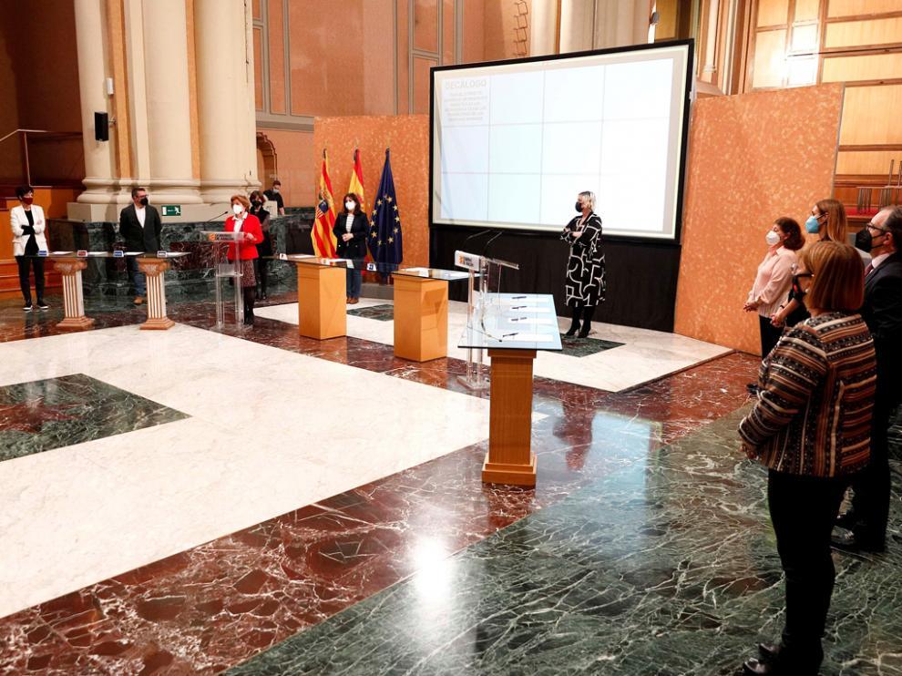 El acto se celebró en la jornada de ayer en la Sala de la Corona del Edificio Pignatelli de Zaragoza.