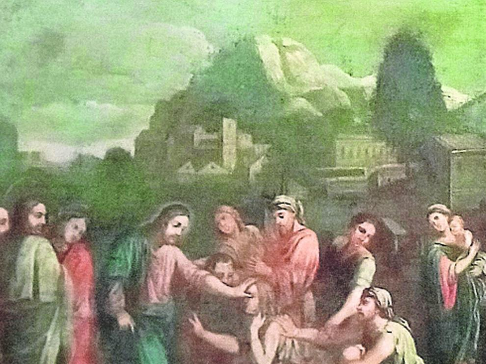 """Lienzo titulado """"Jesús cura al ciego"""", de Egea, devuelto en la tercera entrega este pasado viernes."""