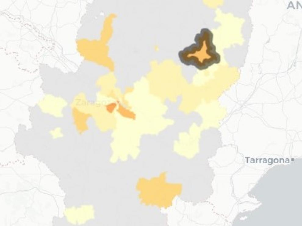 Mapa de contagios de covid publicado este viernes, 12 de marzo.