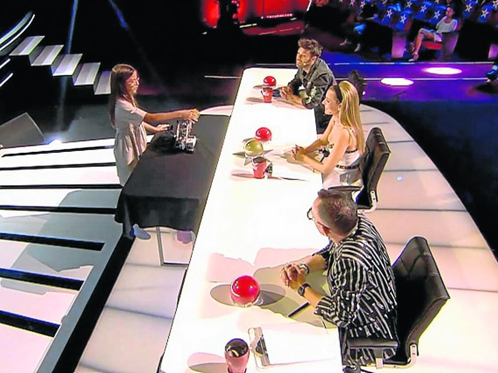 Valeria Corrales, con Dani Martínez, Edurne y Risto Mejide en Got Talent.