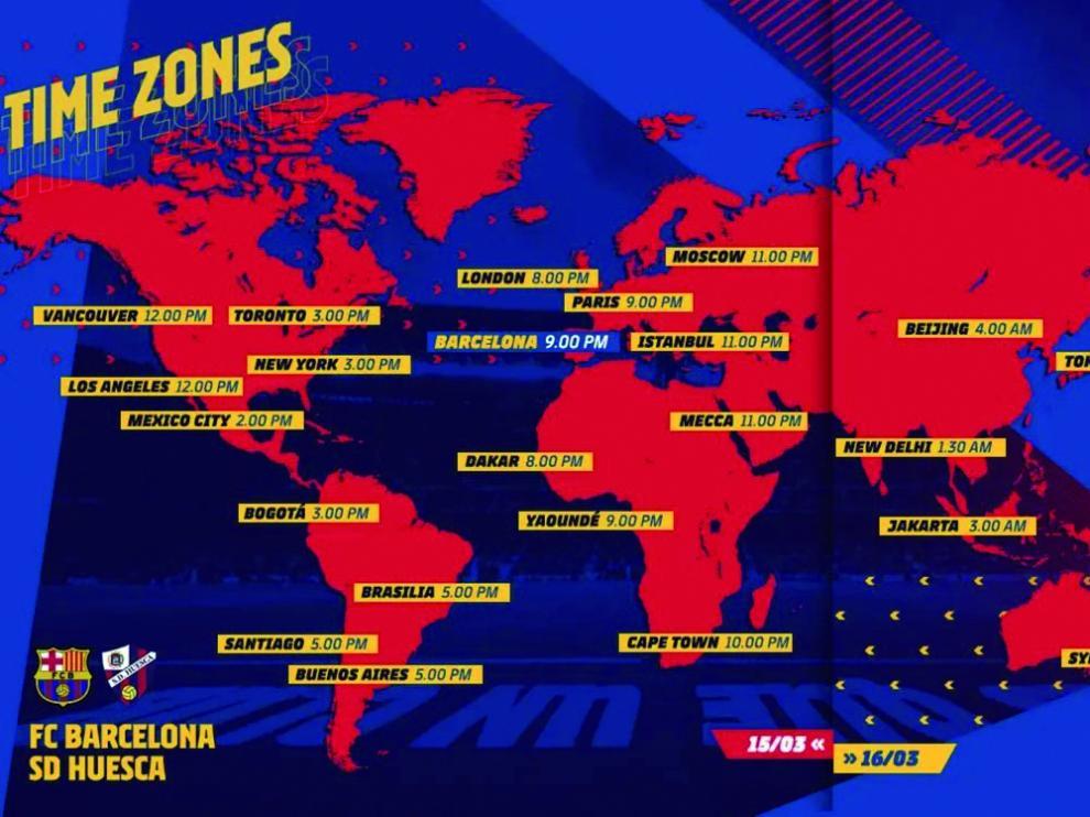 En este mapa se puede ver la dimensión mundial del partido que esta noche juega el Huesca en Barcelona.