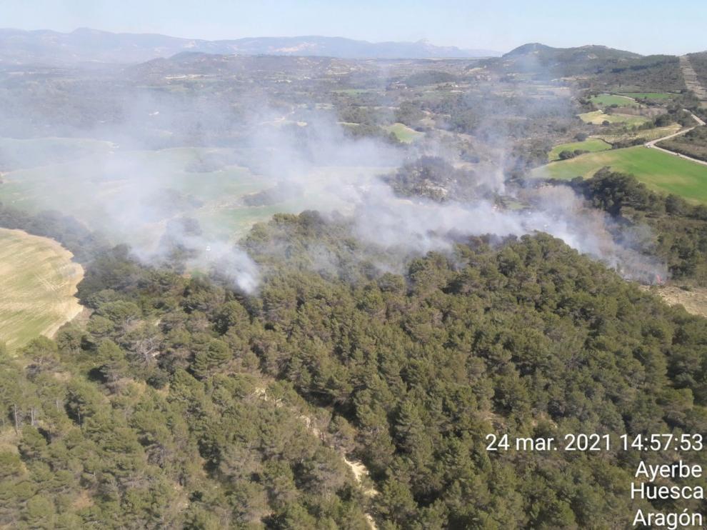 Zona afectada por el incendio este miércoles en Ayerbe.