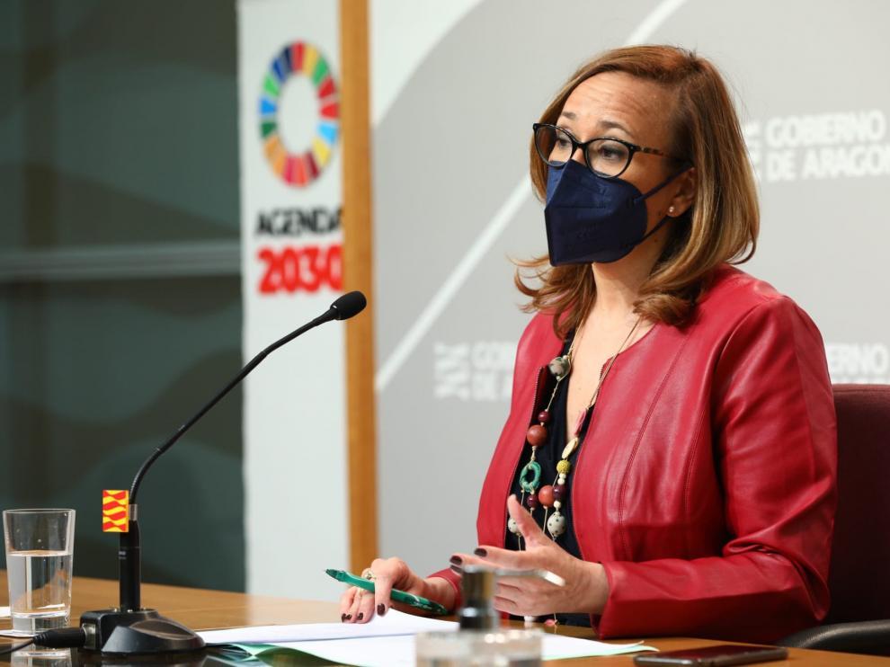 La consejera de Presidencia, Mayte Pérez, en la rueda de prensa tras el Consejo de Gobierno.