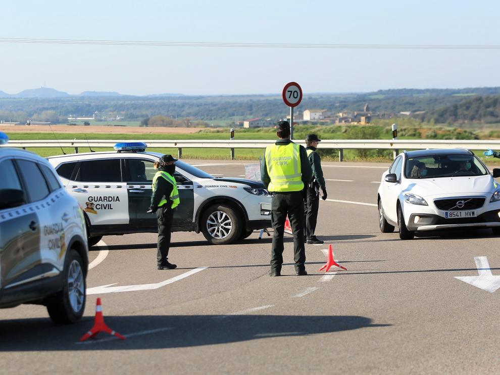 Control de tráfico de la Guardia Civil en la provincia de Huesca.