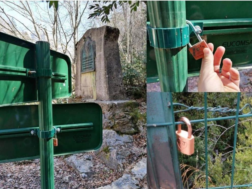 Algunos de los candados puestos por los usuarios en elementos del parque.