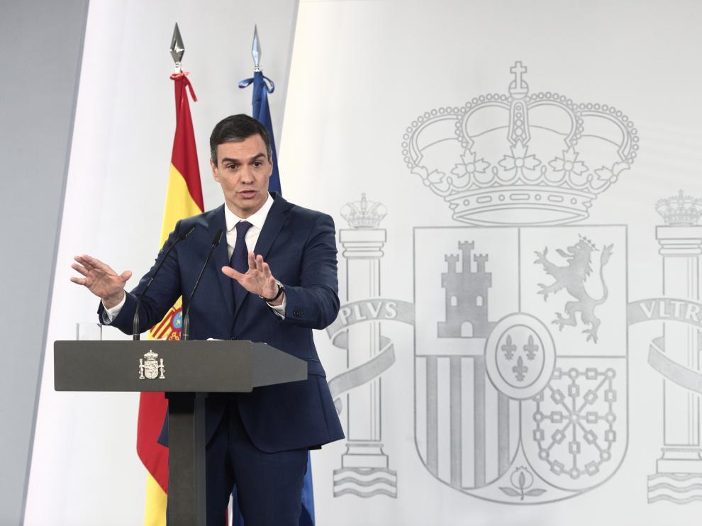 Pedro Sánchez en su comparecencia este martes tras el Consejo de Ministros.