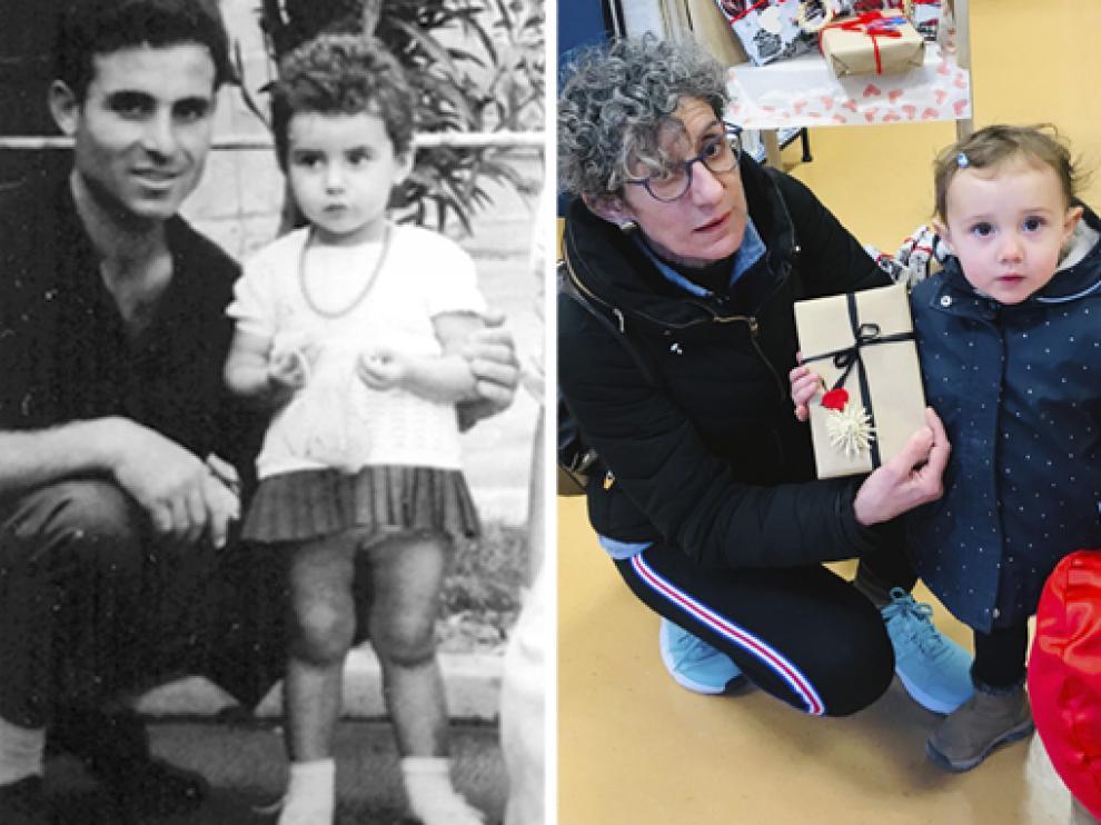 En la fotografía en blanco y negro, María Jesús Ullod Borruel cuando era niña, con su padre y en la imagen de color, María Jesús Ullod posa con su nieta.