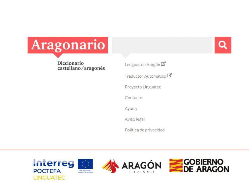 Una imagen del diccionario online de aragonés.
