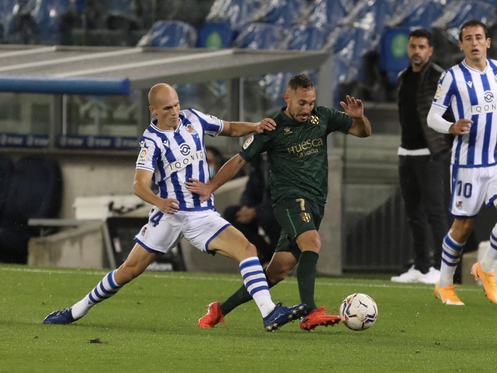 Imagen del partido de ida entre la Real Sociedad y el Huesca.
