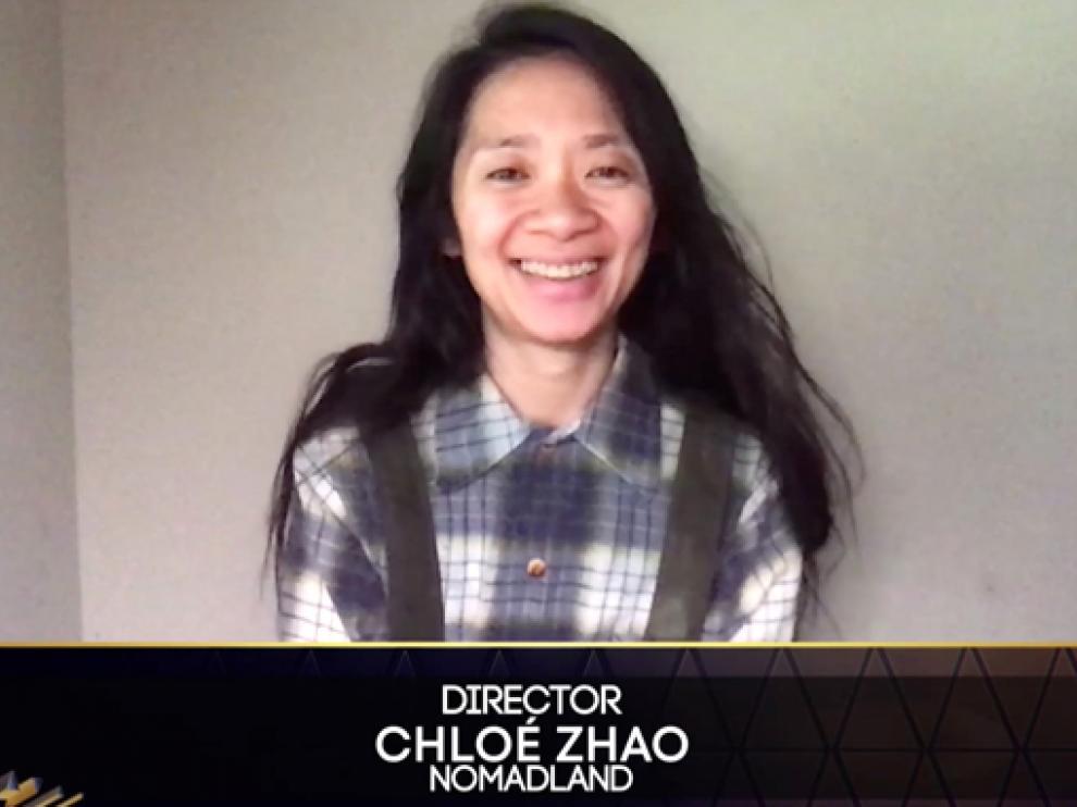 Chloé Zhao recibió el premio a la Mejor dirección por 'Nomadland'.