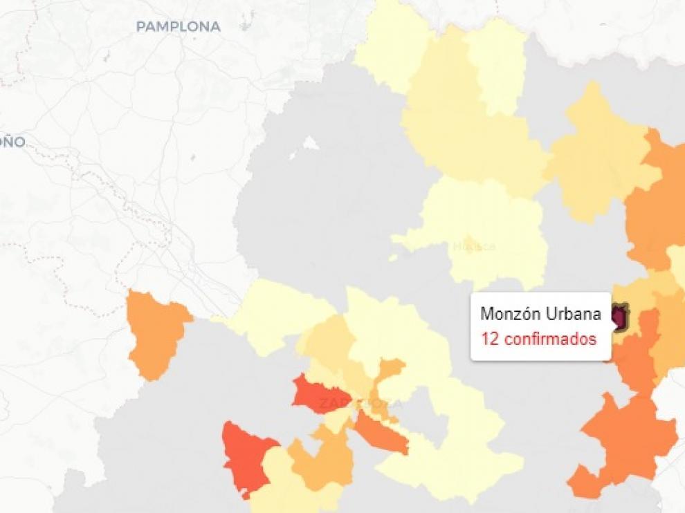 Mapa con los nuevos contagios de covid en Aragón, publicado este martes 13 de abril
