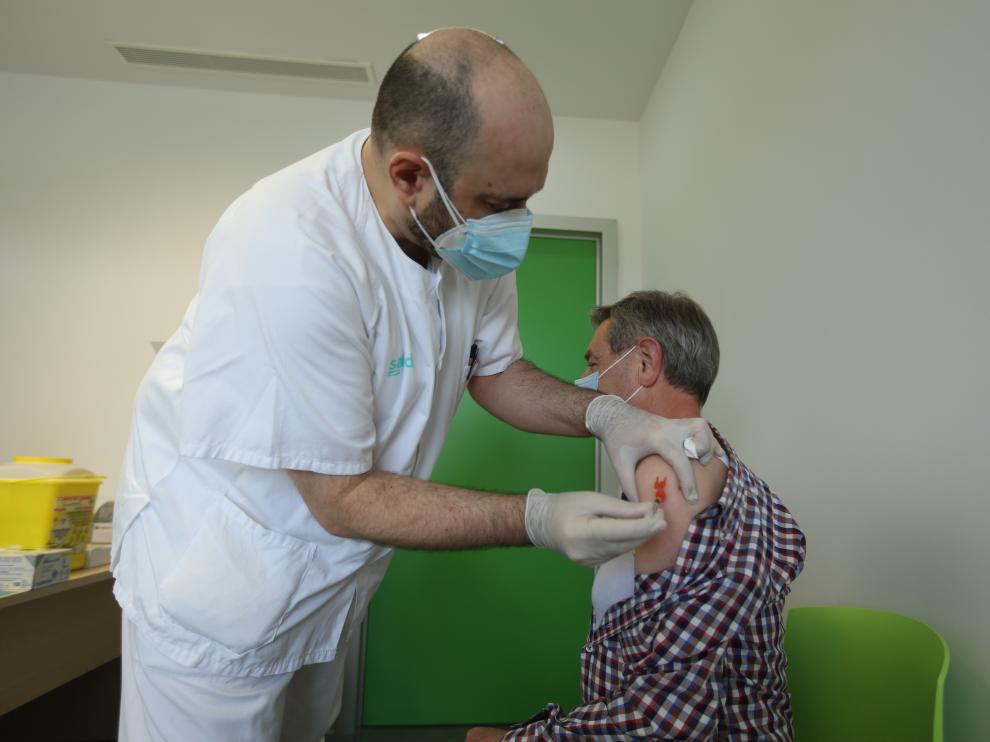 Una de las vacunas puestas este martes en Huesca