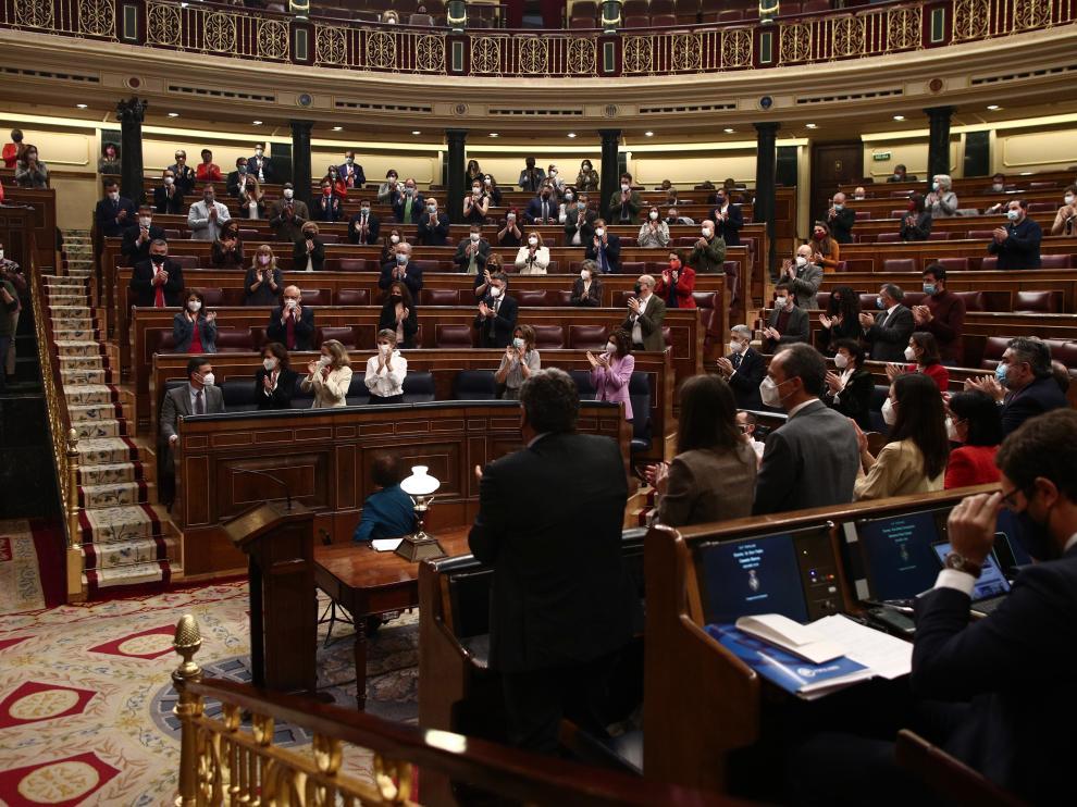 Congreso de los Diputados antes de iniciar la sesión ayer.