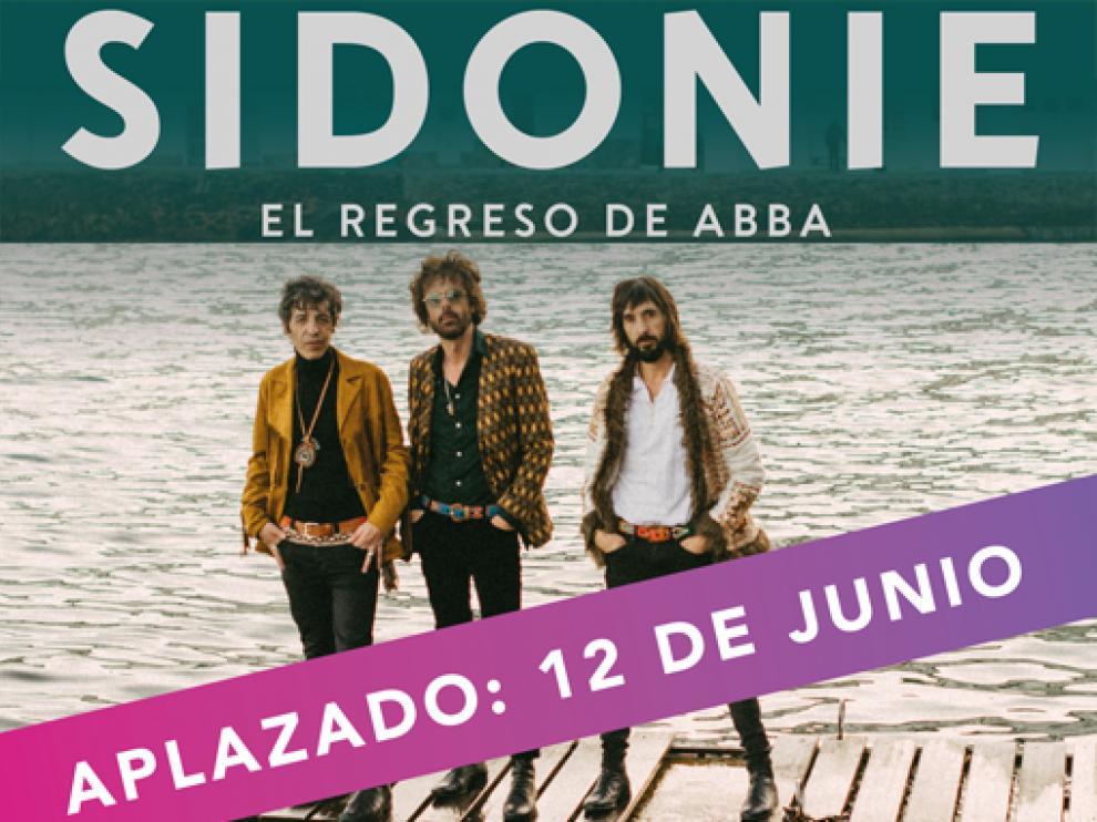 Detalle del cartel del concierto aplazado.