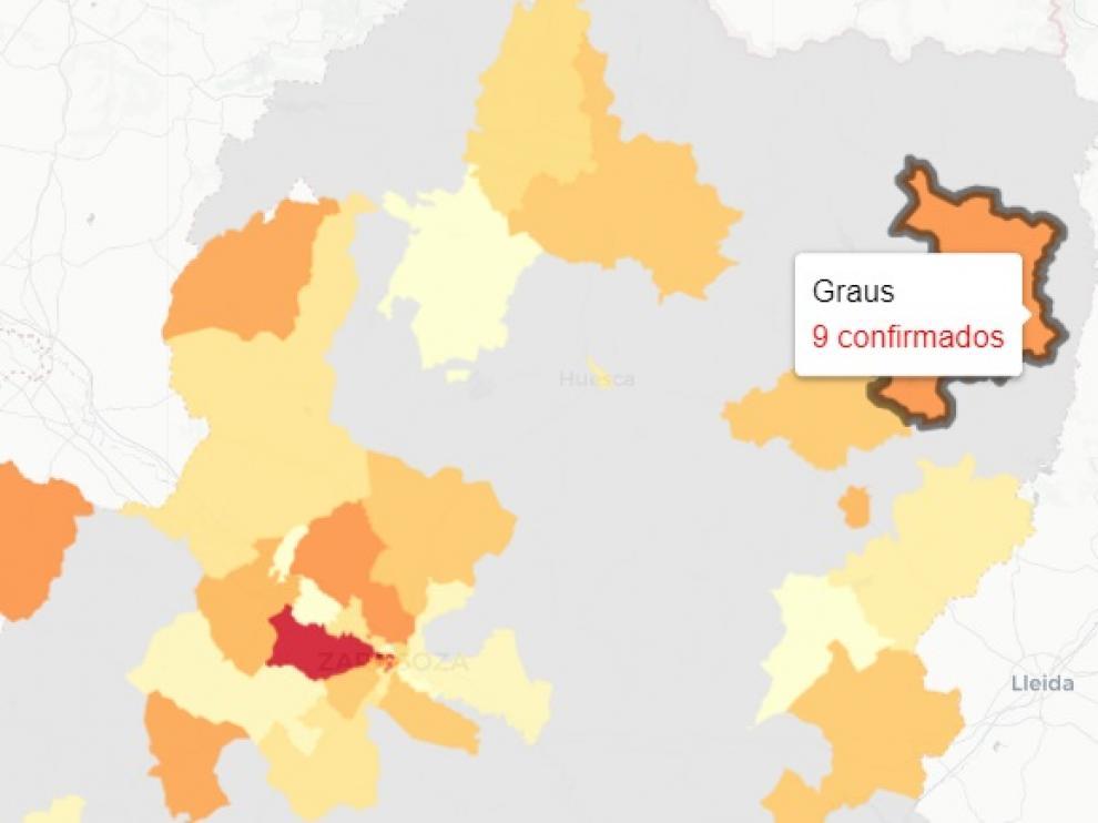 Mapa de nuevos contagios de covid-19 en Aragón, publicado este miércoles