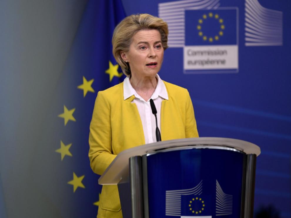 La presidenta de la Comisión Europea, Ursula Von der Leyen, este miércoles durante su intervención.