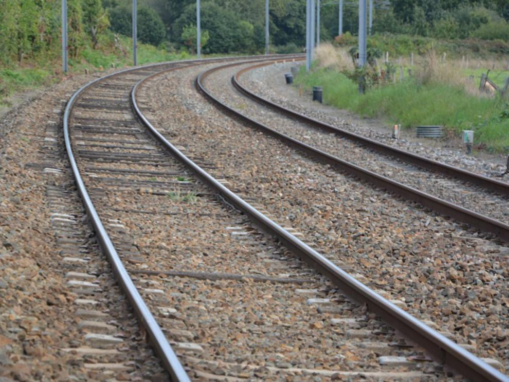 Tramo de vías de ferrocarril en la comunidad aragonesa.
