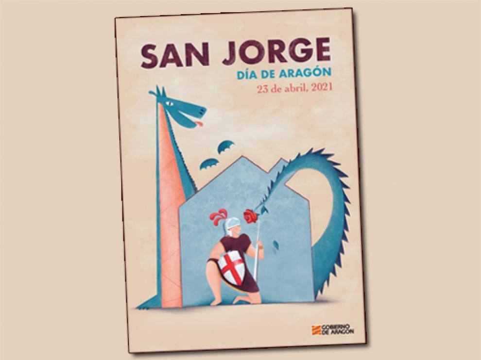 """Cartel ganador """"Este año, San Jorge lucha desde casa""""."""