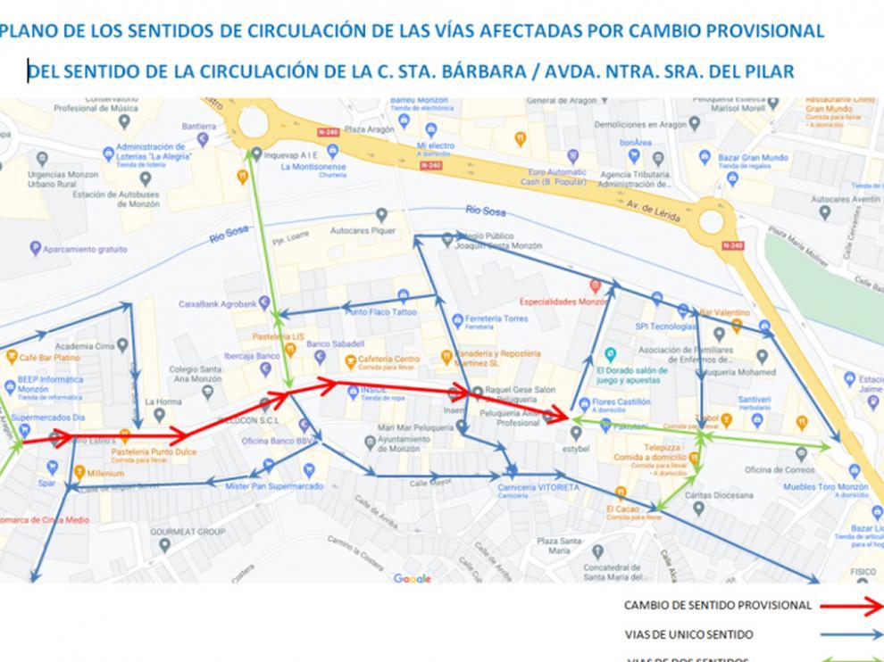 Cambio temporal del sentido de circulación de la calle Santa Bárbara