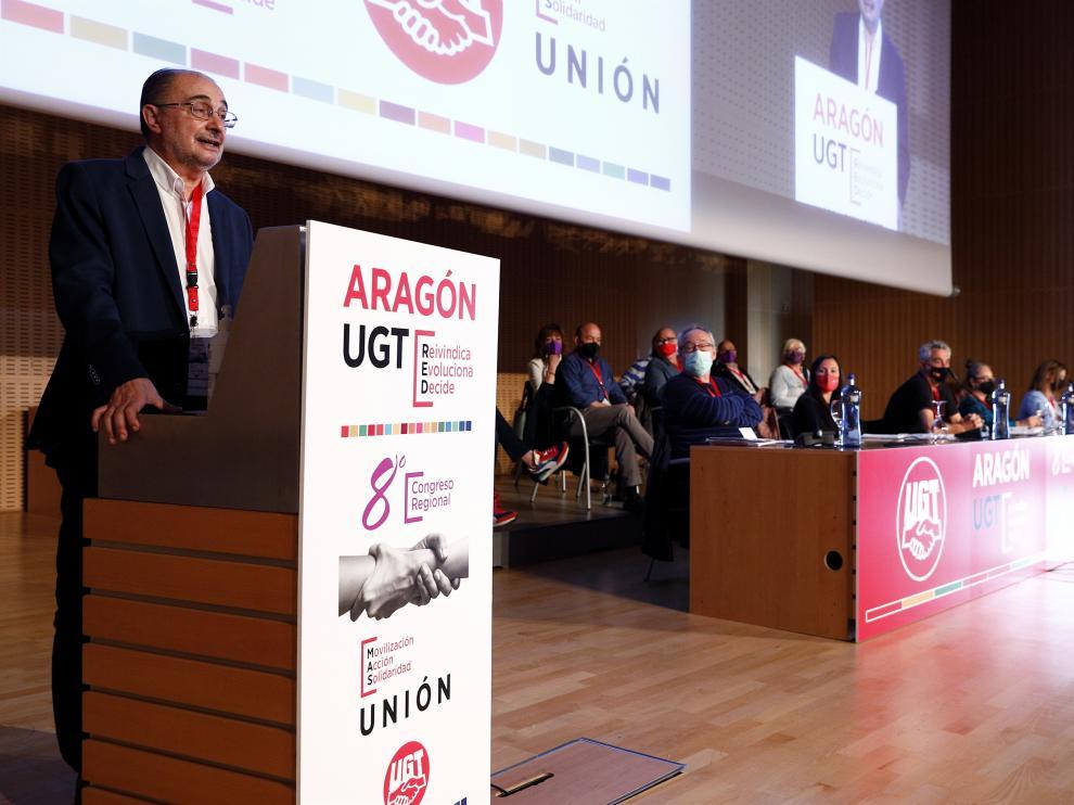 Intervención de Lambán en el Congreso Regional de UGT en Zaragoza.