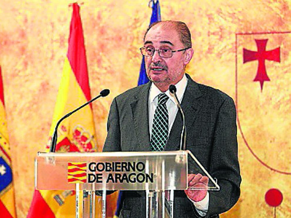 Javier Lambán durante el acto por el Día de Aragón celebrado en Teruel.